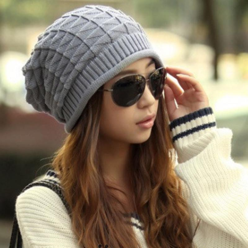 793d8bd9609f3 Women Girl Winter Triangle Slouchy Knit Beret Beanie Hat Cap  Black Coffee Gray for Choose-in Skullies   Beanies from Apparel Accessories  on Aliexpress.com ...