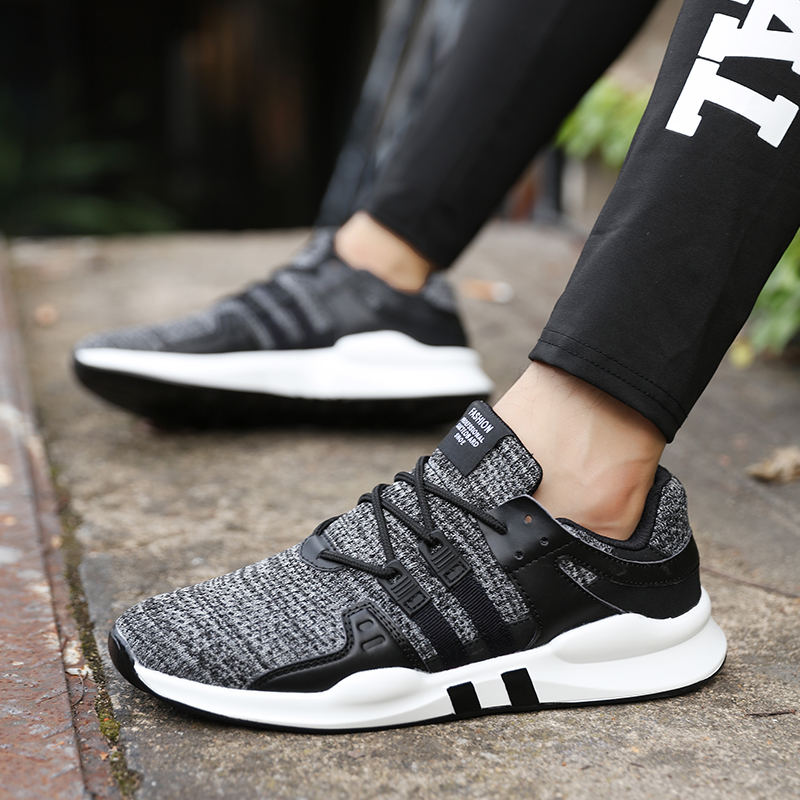 TOURSH Running Shoes For Men Lace-up Athletic Trainers Krasovki Men Sneaker ManS Jogging Zapatillas Sports Male Shoes black