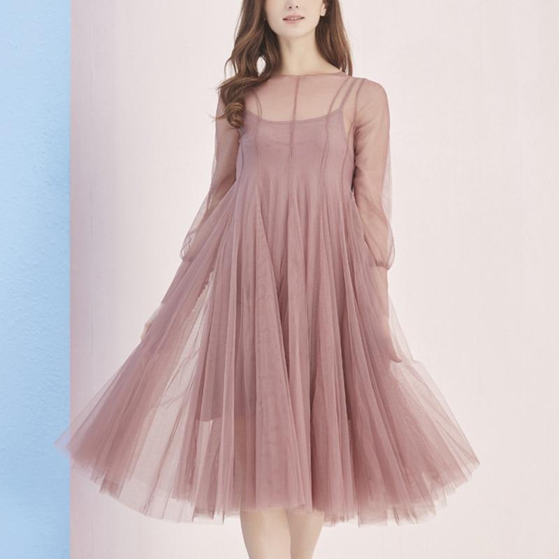 2018 new spring summer vintage <font><b>tulle</b></font> <font><b>dress</b></font> women mesh long sleeve female party long <font><b>dress</b></font> chiffon sexy black red clothing