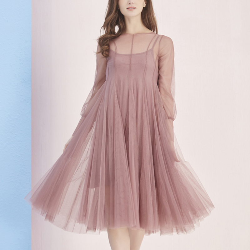 2018 new spring summer vintage tulle dress women mesh long sleeve female party long dress chiffon sexy black red clothing