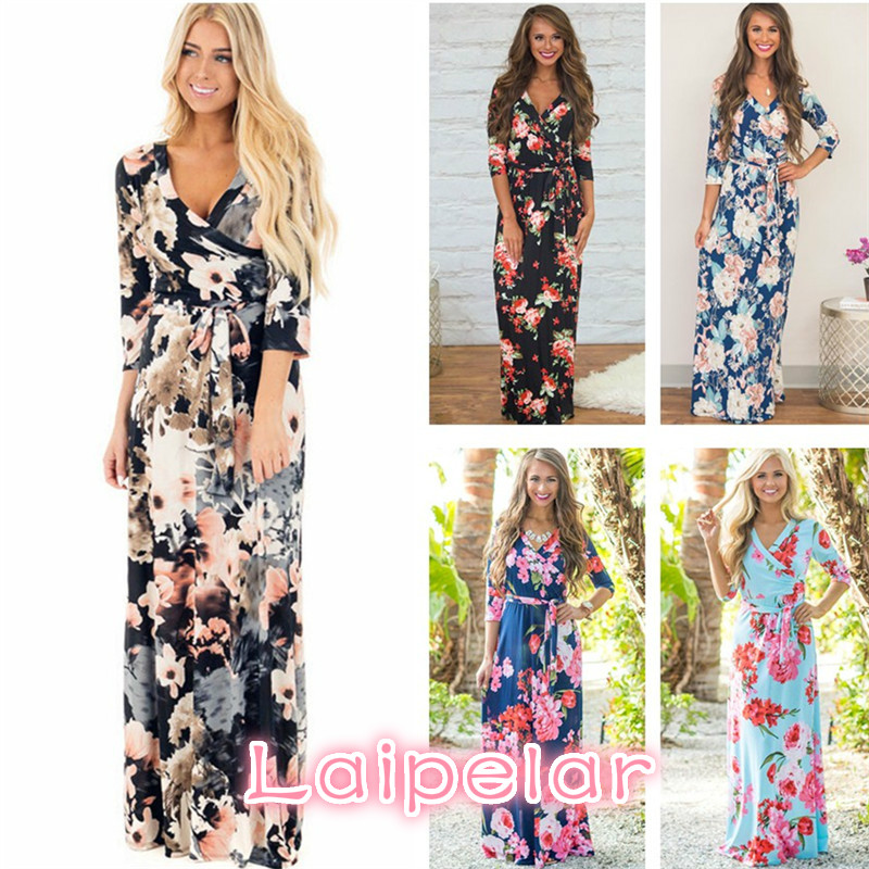 Long Summer Dress Floral Print Women Maxi Dress 2018 Beach Dress Evening Party Bandage Bodycon Dress Vestidos Plus Size Laipelar