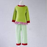 トップ付きグリーン卸売子供ベビー服セット夏ブティック衣装パジャマ用子