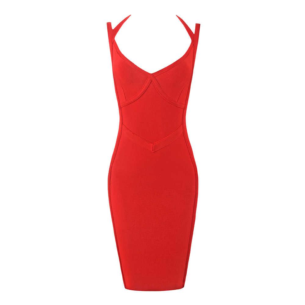 送料無料女性のセクシーな V 赤包帯ドレス 2019 レディースミニパーティードレス Vestido