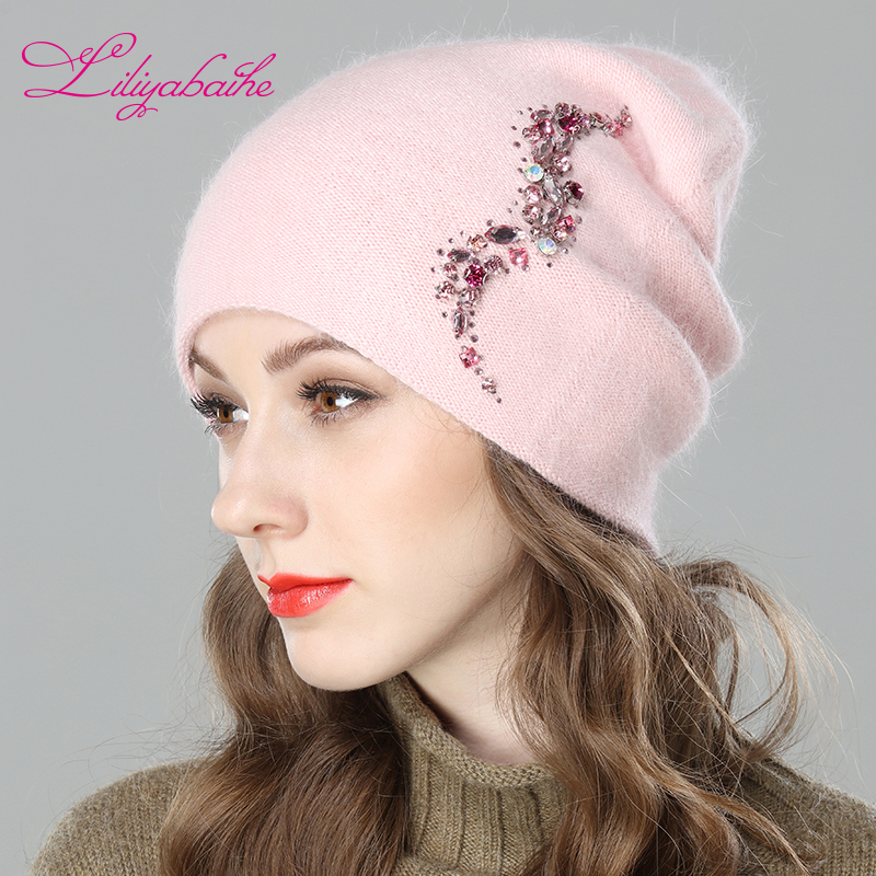LILIYABAIHE Frauen Herbst Und Winter Hut angora Gestrickte Skullies Mützen Cap Sexy bart diamant dekoration hüte für Mädchen