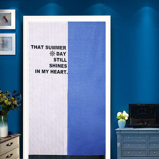 Japanischen Stil Sommer Sun Printed Blau Tür Vorhang Natürliche ...