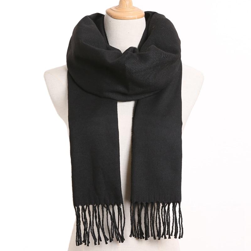 [VIANOSI] клетчатый зимний шарф женский тёплый платок одноцветные шарфы модные шарфы на каждый день кашемировые шарфы - Цвет: 58