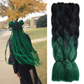 Green Synthetic Braiding Hair Bulk Extension Ombre 24'' 100g Two Tone Ombre Xpression Jumbo Crochet Braiding Hair Kanekalon Lots