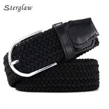 105cm Russia fashion Casual stretch woven belt Womens unisex Canvas elastic belts for women jeans elastique Modeling  F142