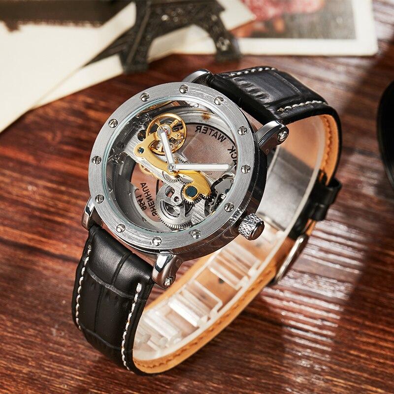 где купить Luxury Brand Men Watch Automatic Mechanical Watches Fashion Case Stainless Steel Skeleton Watch Transparent Watch masculino дешево