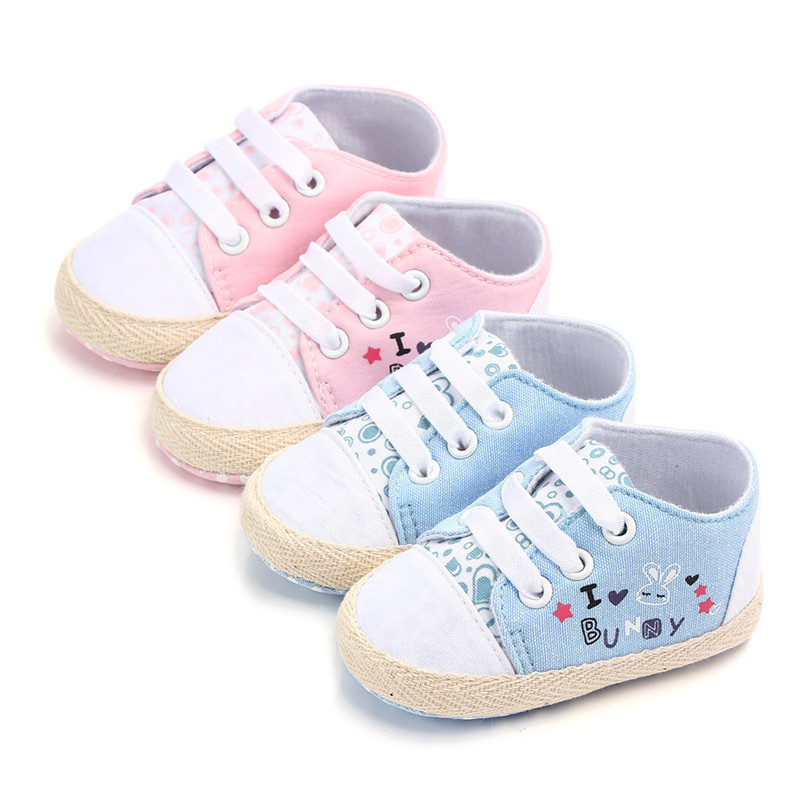 Newborn Baby Shoes 2019 Infant Print Rabbit First Walkers Toddler Canvas Shoes Lace-up Baby Girls Boys Sneaker Prewalker 0-18M