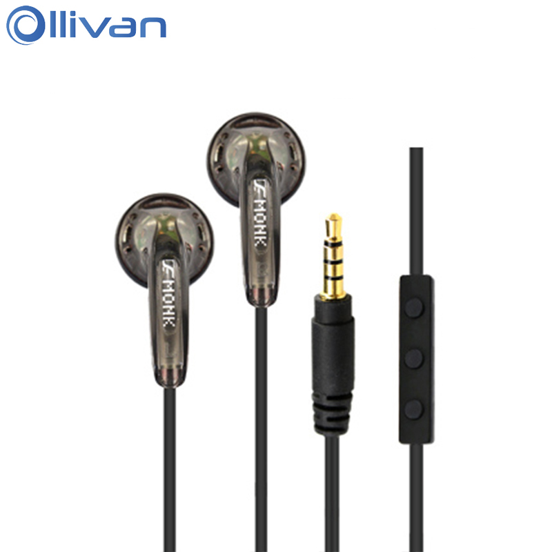 VE Monk Plus HIFI Earphone 3.5mm In Ear Earphones With Microphone 64ohm 64 Ohm Headsets With Wired Control For Mobile Phones for apple earpods with earphones 3 5mm plug and lightning earphone plug stereo phones in ear earphone with microphone original