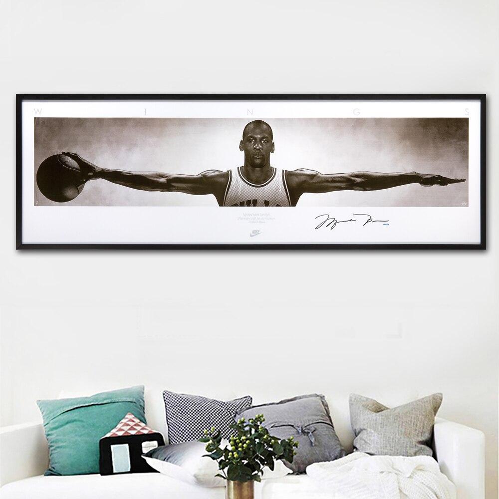 SELFLESSLY Wand Kunst Leinwand Bilder Für Wohnzimmer Wohnkultur michael jordan flügel signiert poster druck leinwand Malerei