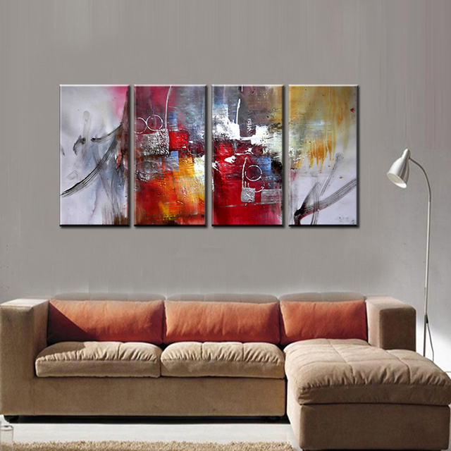 Large 4 piece famous artist modern canvas wall art decorative acrylic abtract art painting ideas for Best paintings for living room