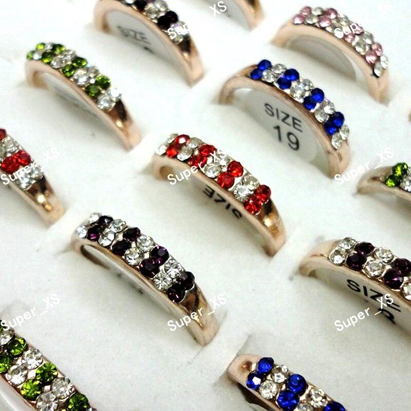 b566a295e70d 20 unids lote moda completa checa diamantes de imitación de Color mixto anillos  de oro para las mujeres todo de LR354 envío gratis