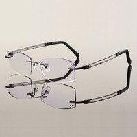 New 6618 Rimless Diamond Cutted Optical Eyeglasses Titanium Frame