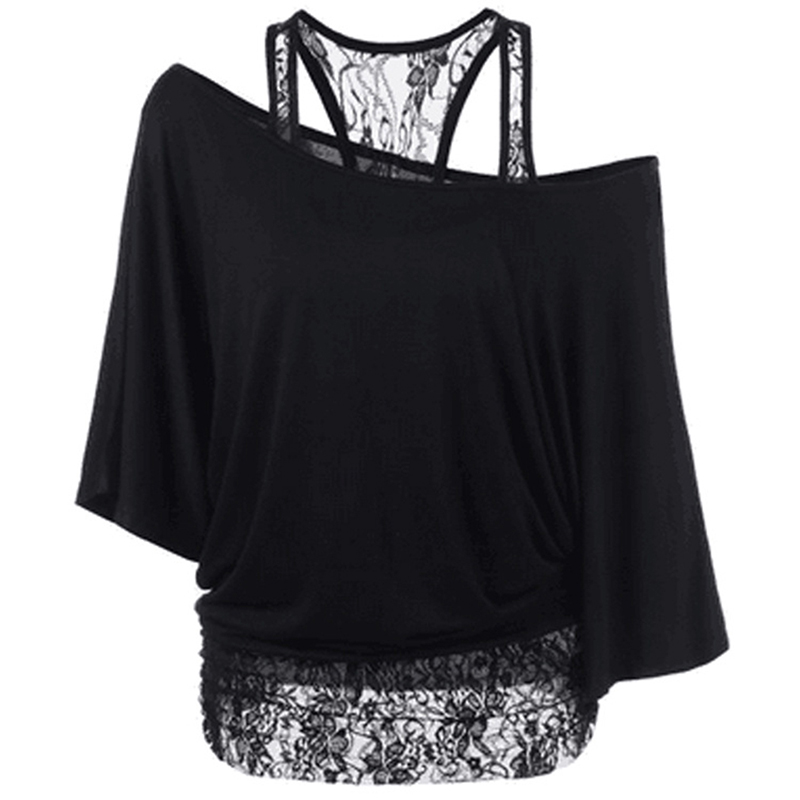 Plus Size 5Xl Tees New Arrival Summer Women Loose Slash Neck Short Sleeve T Shirt Lace Patchwork Sexy Basic Tops