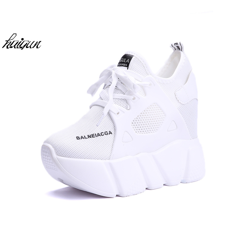 Sllve-hive Womens Wedges Sneakers Breathable Mesh External Heightening Casual Athletic Shoes