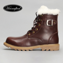 Natural Wool Men Snow Boots Size 38~48 Warmest cow split leather europe style Men Winter Boots #YM008