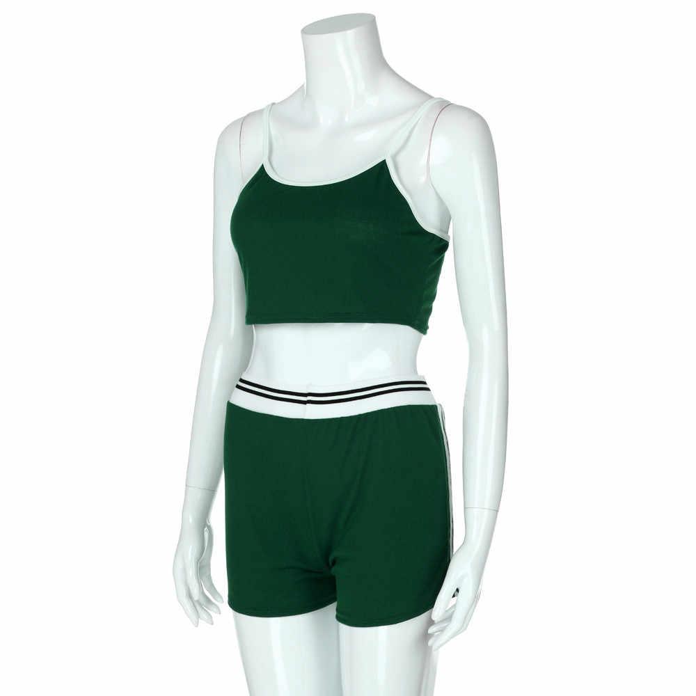 セクシーな 2 個セット夏の女性のノースリーブ作物トップス + ハイウエストショーツカジュアル服の衣装プラスサイズ 2 ピースセット女性 #604