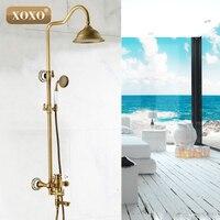 Free Shipping Wholesale And Retail Antique Brass Shower Bathtub Faucet Sets & 8 Rainfall Shower Head + Handshower 50040BT