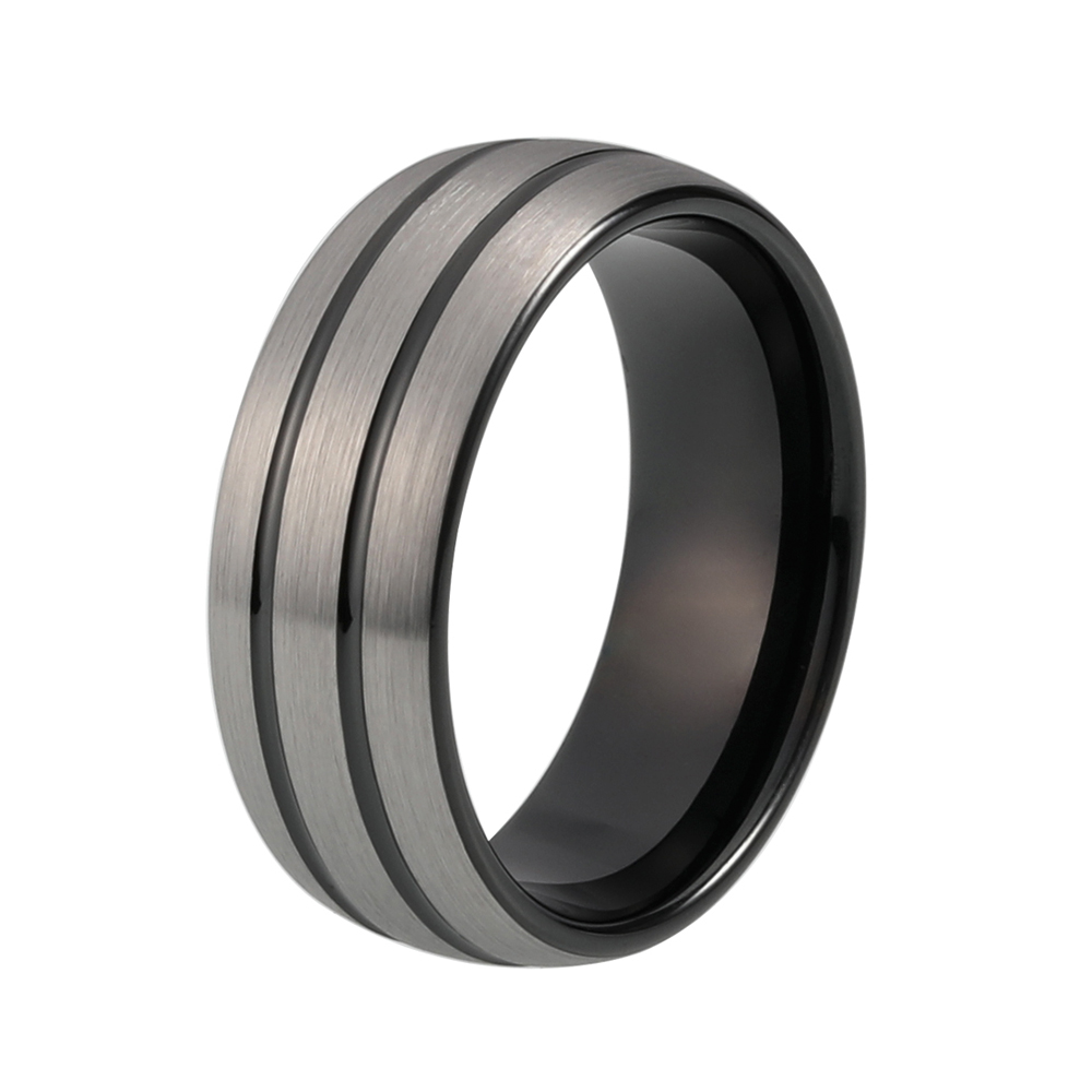 classic men ring tungsten black wedding band with 2 grooves and silver brush finishchina - Mens Black Wedding Rings