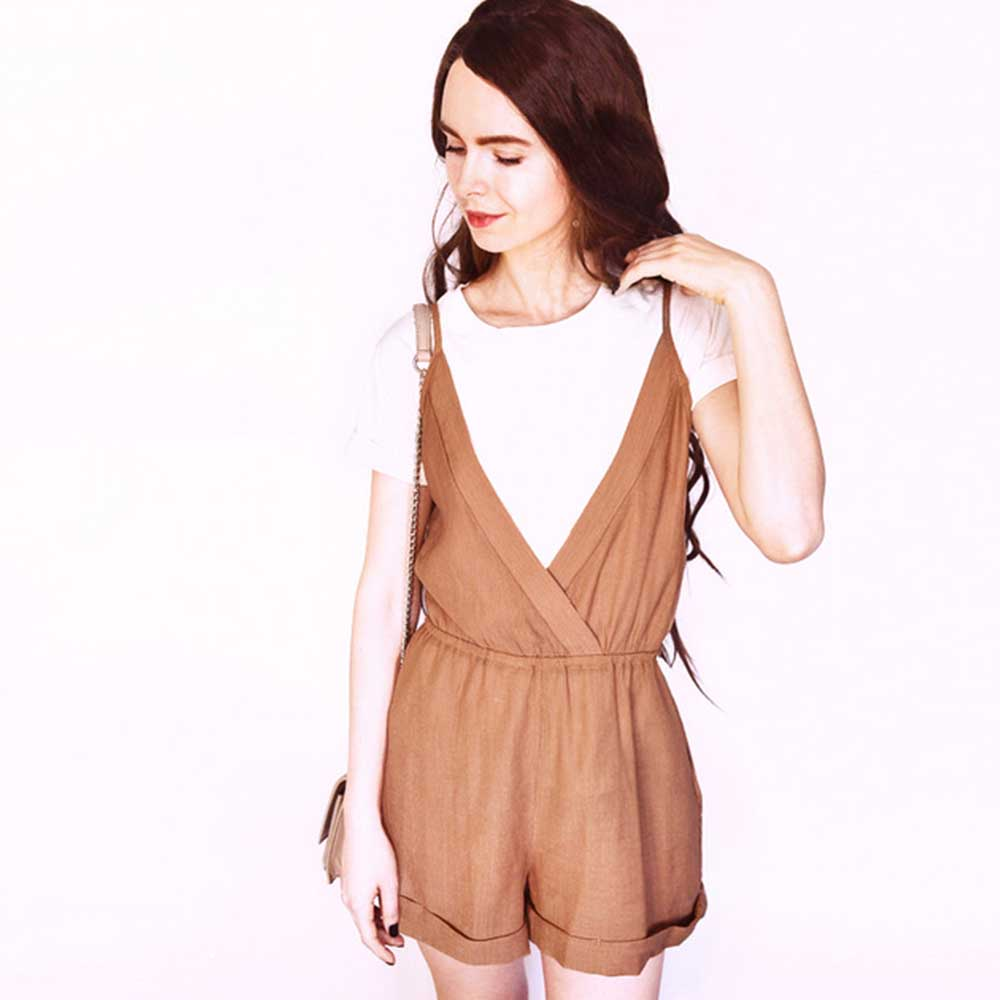 ZAFUL Cross Front Rolled Up Hem Romper Women Rompers Solid   Jumpsuit   Summer Short Overalls   Jumpsuit   Female Girl Cotton Playsuit