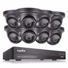 SANNCE 8CH HD 1080P DVR CCTV Camera System 8pcs 2.0MP waterproof Dome Security Cameras Video Surveillance kit HDD