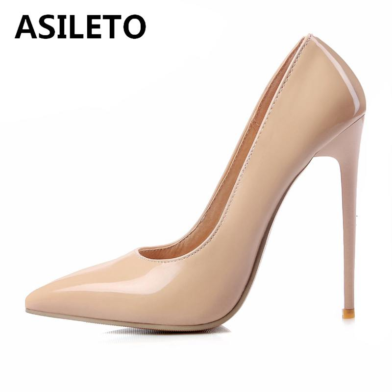 ASILETO size 46 Brand ladies Shoes Woman 12CM high heels pump shallow  Wedding party Stilettos chaussures f1091f5270b1