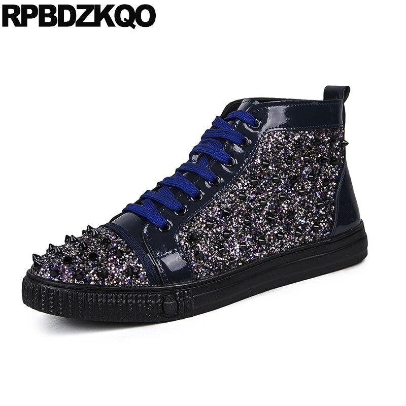 Men Dandelion Spring Skate Black Glitter Shoes High Top Brand Spike Stud  Hip Hop Rivet Blue Sneakers Sequin Runway Trainers e724250f40d5