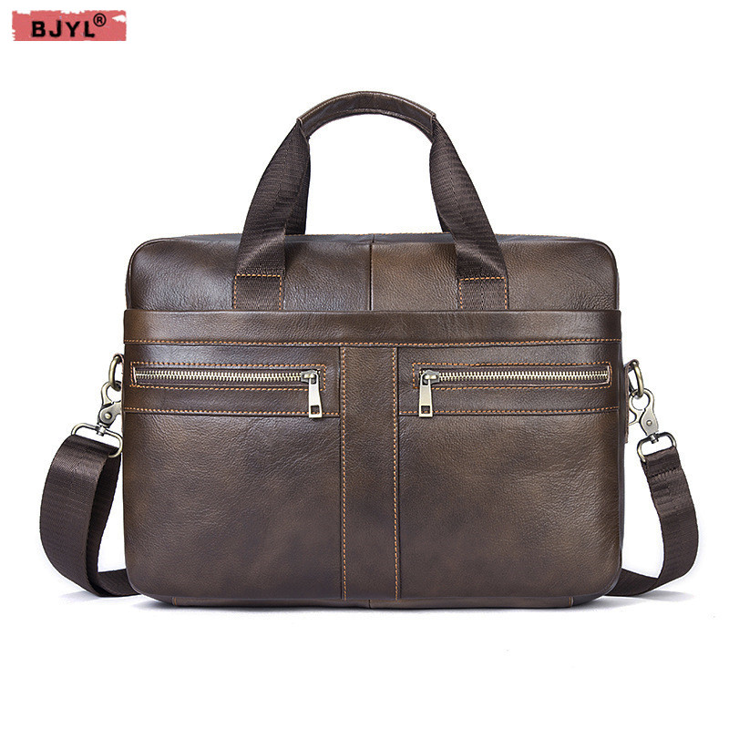 BJYL Genuine Leather Men Business Briefcase First Layer Cowhide Men's 14