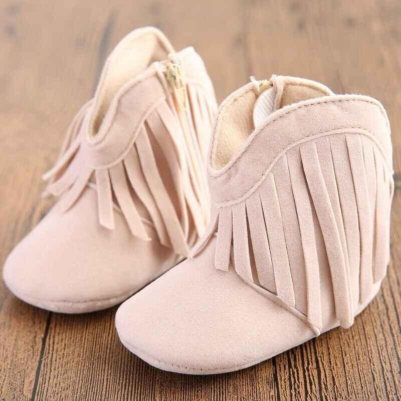 2019 Kış Yenidoğan bebek çizmeleri Ayakkabı Toddler Kız Beşik Moda Püskül Ayakkabı Bebek Kız Fringe Moccasins Yumuşak Taban Ayakkabı