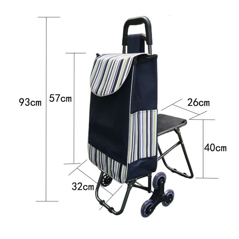 Folding trolley shopping cart /bag 6 wheel trolley car large capacity portable climbing building shopping cart elderly with seat
