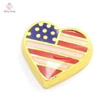 New Heart America Flag floating charms for living glass memory glass lockets FC389(China)