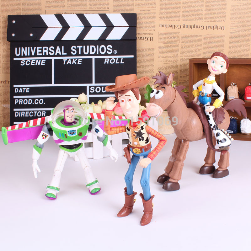 4pcs/set Toy Story 3 Buzz Lightyear Woody Jessie PVC Action Figures Toys Dolls Child Toys Free Shipping anime figure toy story 3 buzz lightyear and woody doll led alarm clock color touch light movie figurines toys for boys gift