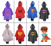Super Hero Cloak Rainsuit Kids Superman Batman Spiderman Boys Girls Raincoat For