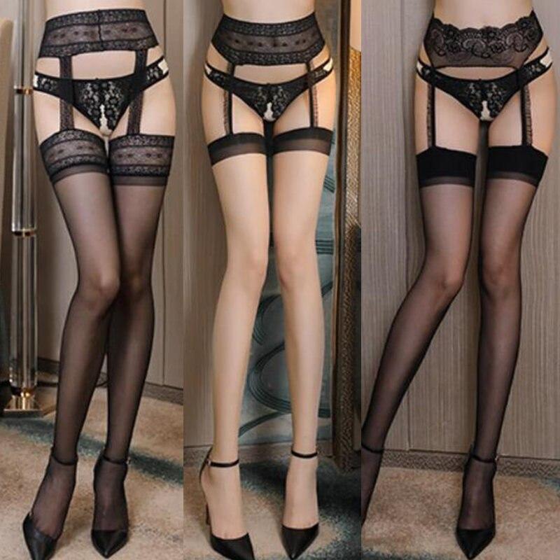 f4eeb4c091 7 estilos Sexy de una sola pieza medias y ligueros mujeres Top de encaje  ligas con medias de muslo alto negro Nylon medias