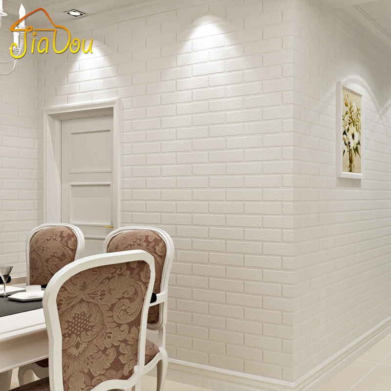 Off white 3d modern design brick wallpaper roll vinyl wall for Living room paper