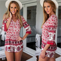 Summer Beach Playsuit Rompers Womens Overalls Sexy Summercasual Print Sleeveless Sexy Deep V-neck Jumpsuit Shorts w/ Red