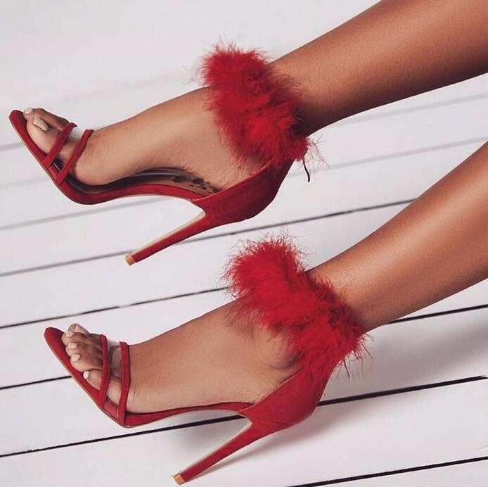 Summer New Brand Designer Women Sexy Red Pink Beige Pink Solid Color Synthetic Fur Open Toe Zip Back Party Stiletto Heel Sandals adiors long middle parting shaggy wavy color mix synthetic party wig