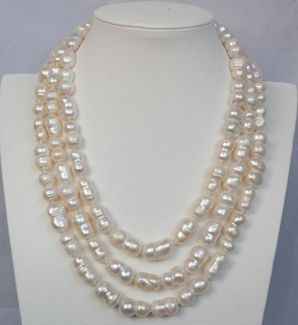 100% Venta de Imagen completa 3 strds Calabaza natural 12x18mm blanco FW collar