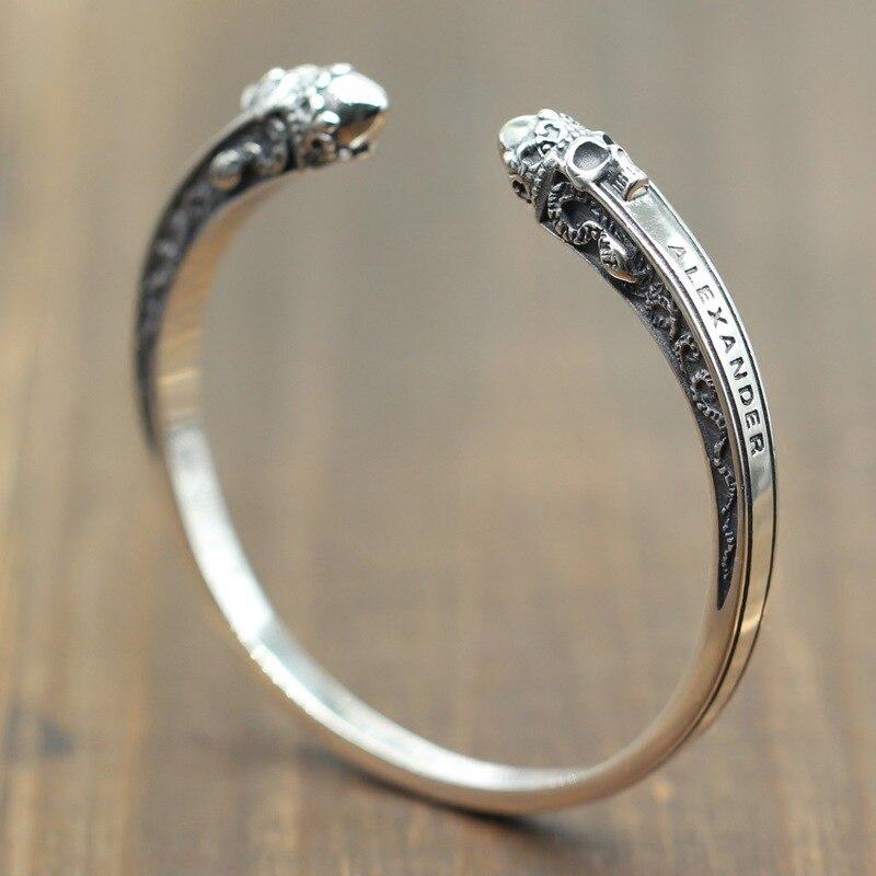 EuroAmerican Chaozhou Skull Bracelet Taiyin Men's Overbearing Open Bracelet Pure Silver 925 Jewelry
