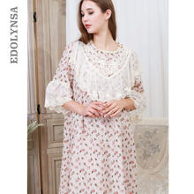 d9930b46e2 Victorian Nightgown Autumn Sleepwear Women Night Wear Vintage Lace Slash  Home Wear Print Sleeping Dress Cotton