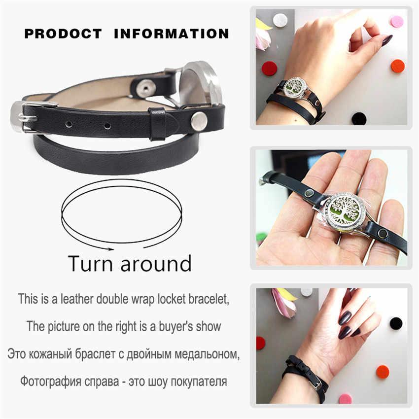 25mm Twist Vis Diffuseur Bracelet Lotus Fleur Arbre de Vie Montre Aromathérapie Médaillon En Cuir PU Bracelet Femmes 10 pièces Tampons