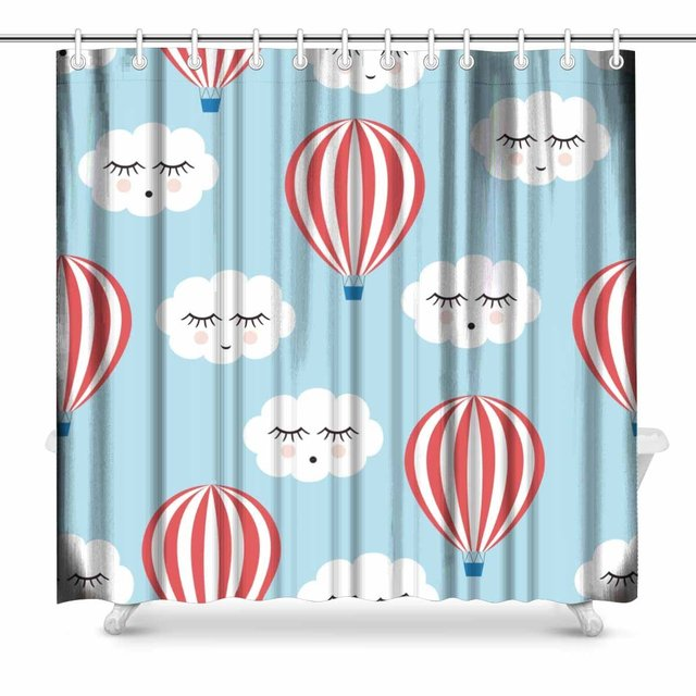 Aplysia Smiling Sleeping Clouds And Hot Air Balloons Country House Image  Polyester Fabric Bathroom Shower Curtain Set 72 Inches