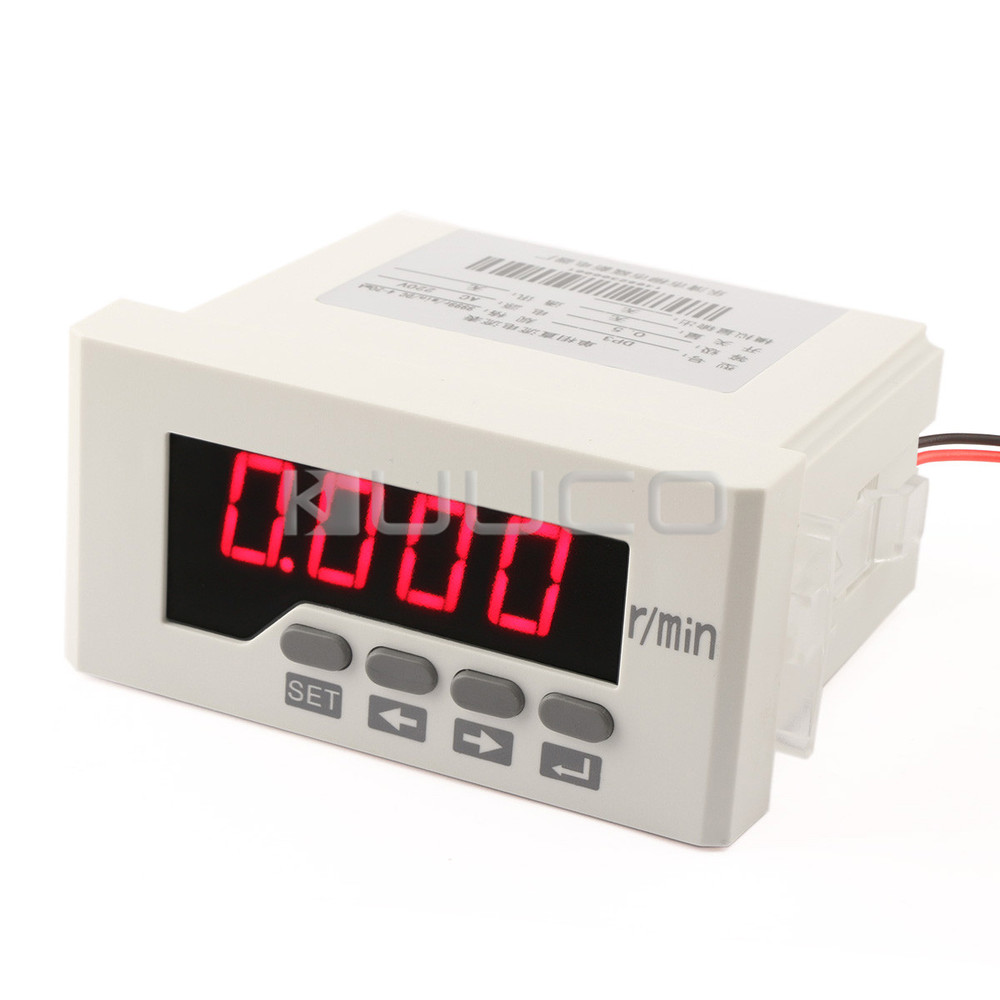 Tacho Gauge AC / DC110~220V Intelligent Digital Tachometer Red LED Speed Monitor meter 9999 rpm /DC4~20mA Wire-speed Table  цены