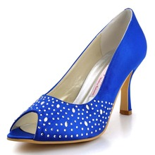 EP11021 Blue Women Bridal Pumps Peep Toe High Heel Prom Evening Rhinestones Satin Party Shoes
