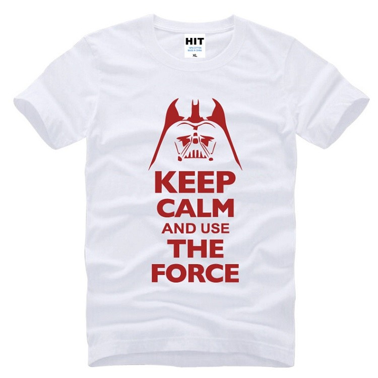 white and red keep calm and use the force star wars tshirt