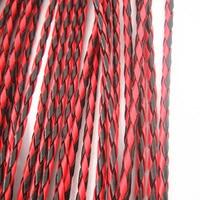 10メートル4ミリメートルpu編組レザーコード赤黒ファインディングdiyブレスレットとネックレスアクセサリー