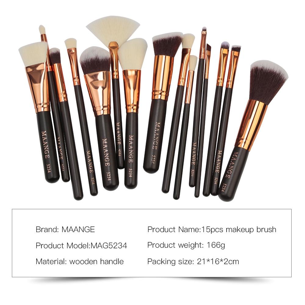 MAANGE 6/8/15pcs Luxurious Makeup Brushes Set Cosmetics Powder Foundation  Contour Eyeshadow Make Up Beauty Tool + Leather Case