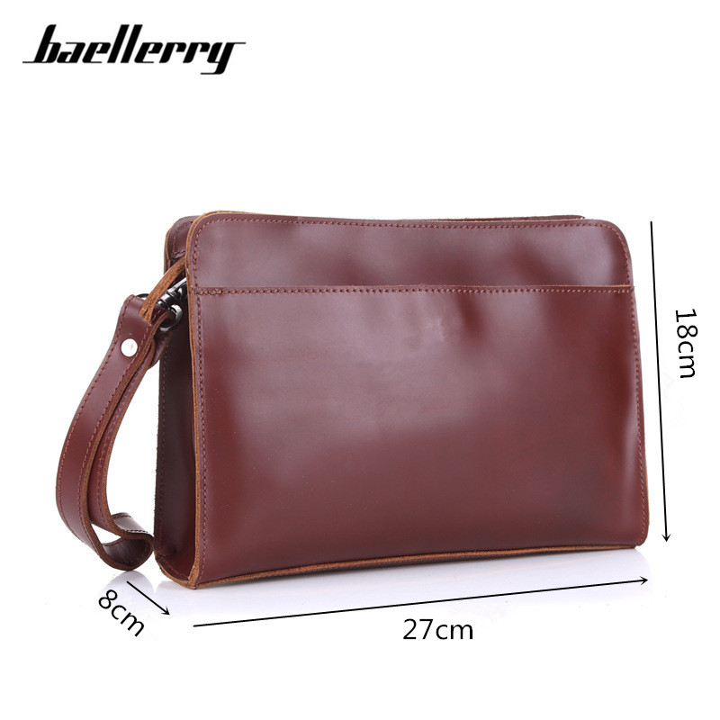 Baellerry 27cm Large Capacity Men Wallets Wristlet Multifunctional Male Clutch Genuine Leather Wallet Men Portfolio Handy Bag iron man action figure mini egg attack light 6pcs set action figures pvc brinquedos collection figures toys for christmas gift